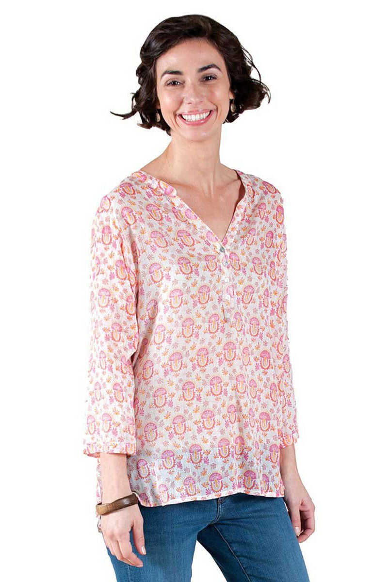 Cotton Voile Tunic in a Pretty Pink Print