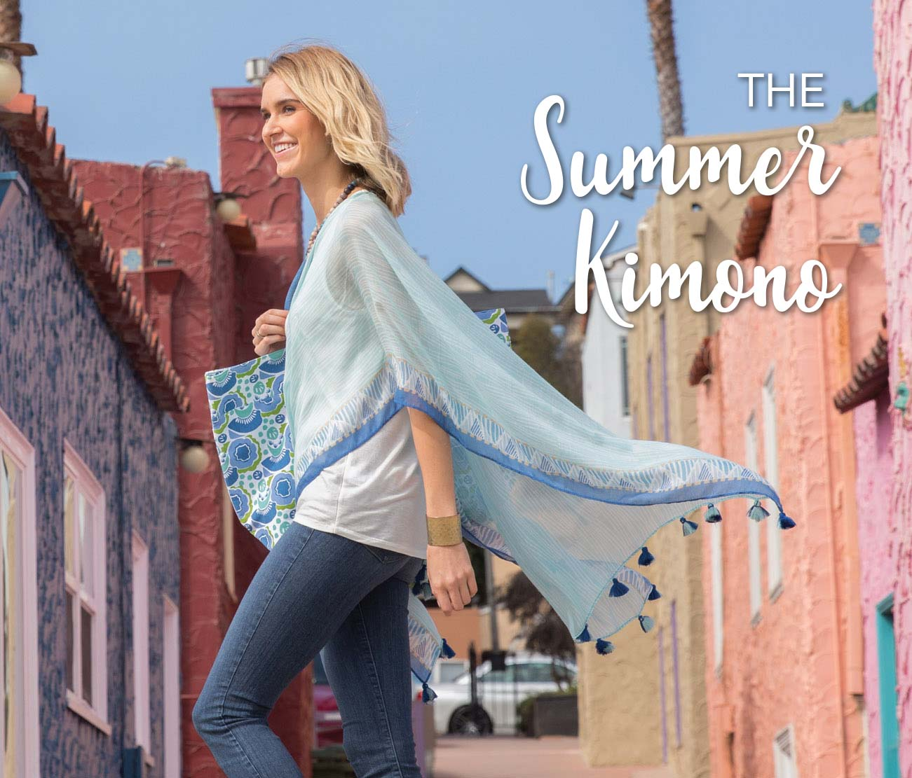 Our light, summer kimono is perfect for adventures on your beach vacation.