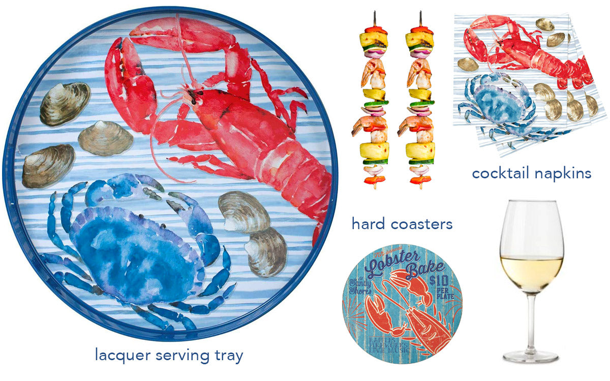collage of a summer party set including lacquer serving tray, coasters, cocktail napkins
