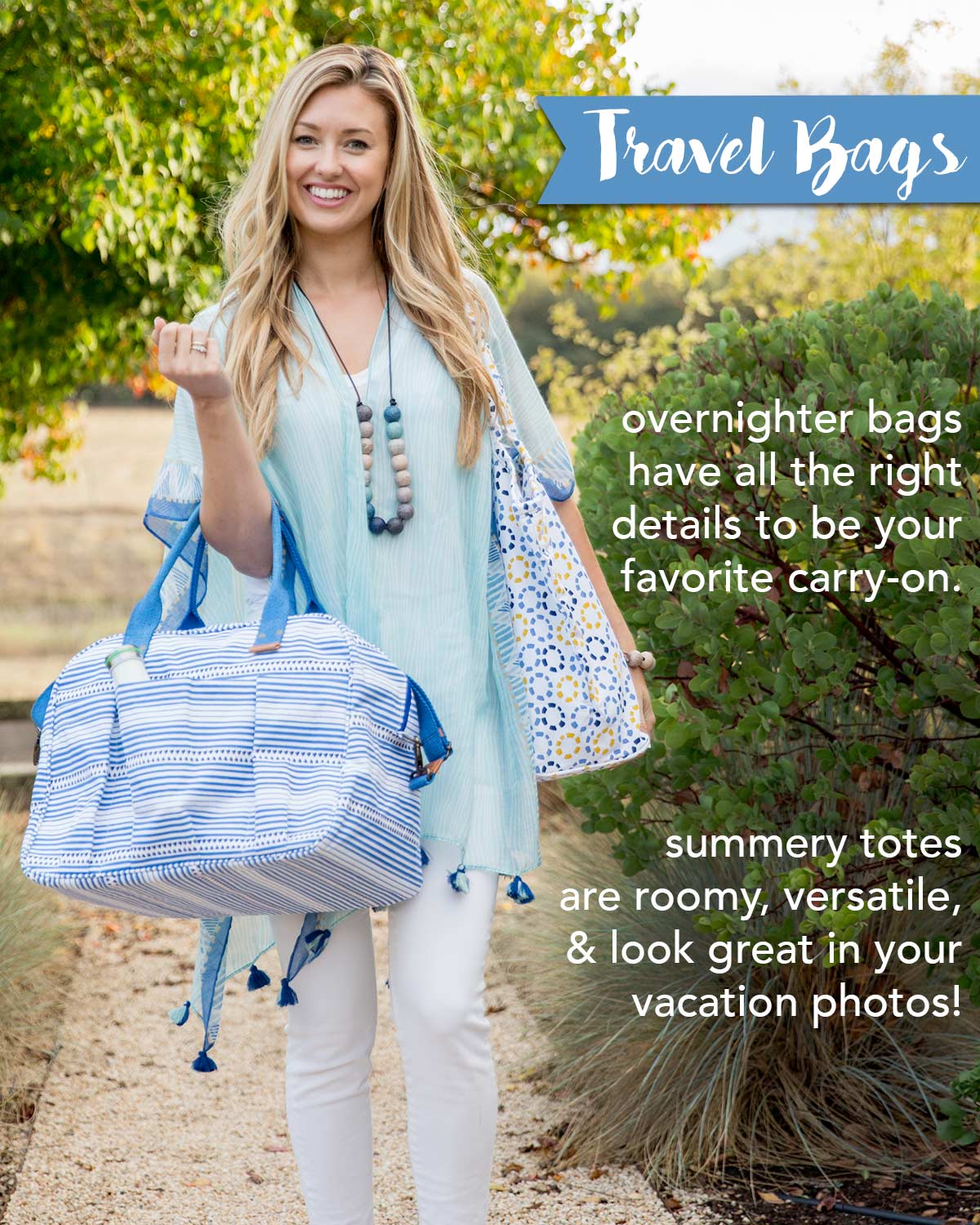 overnighter bags and summery totes perfect for travel