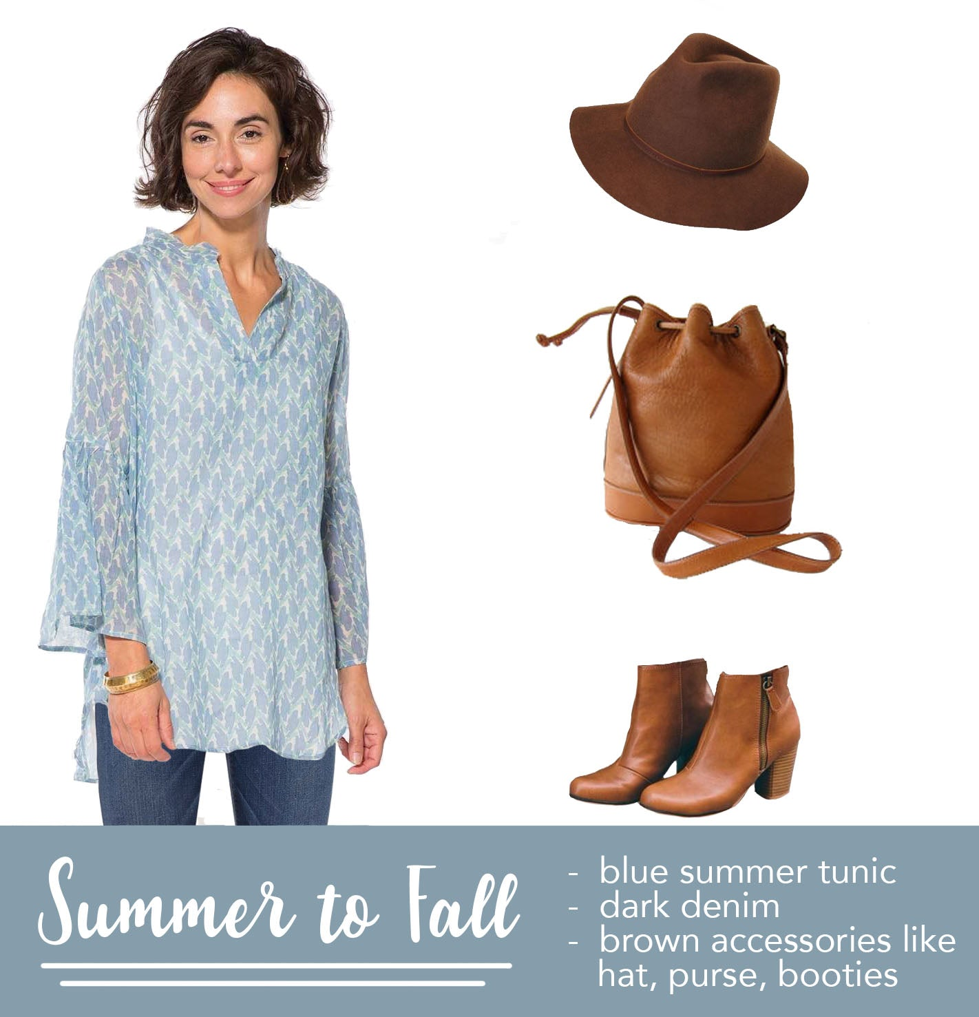 woman wearing a blue bell sleeve tunic with blue jeans, pictured with a brown hat, brown purse, brown booties, for fall