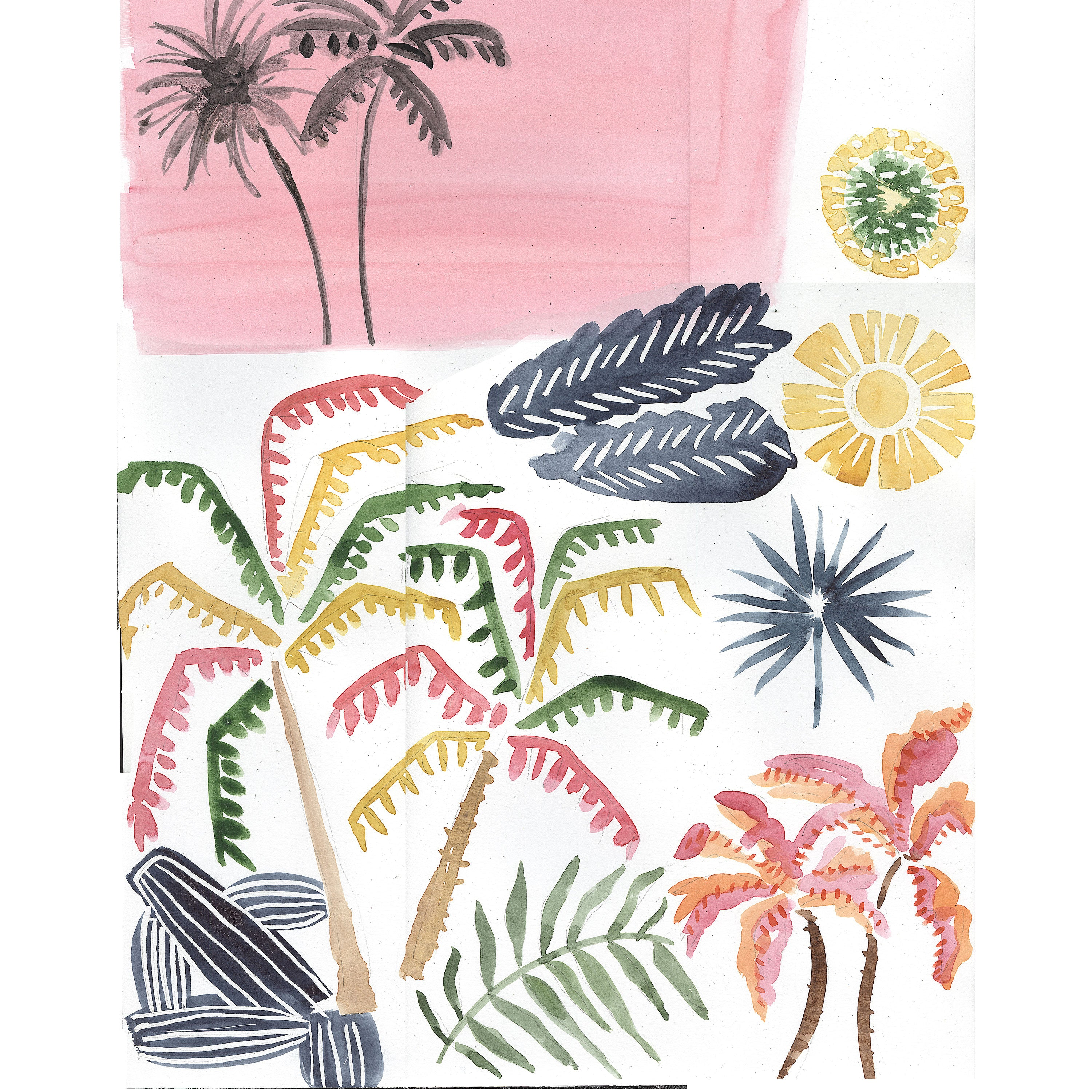 water color art of palm trees and sunsets in pink and yellow and green