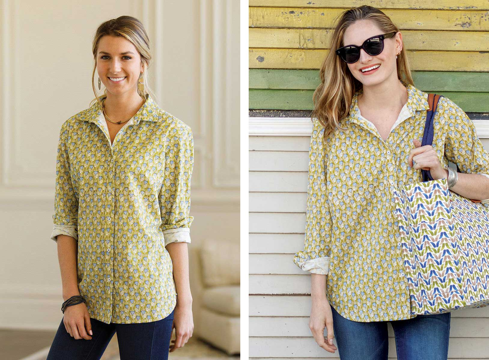 Harlow Olive Green Cotton Button Down Shirt - great for all seasons!