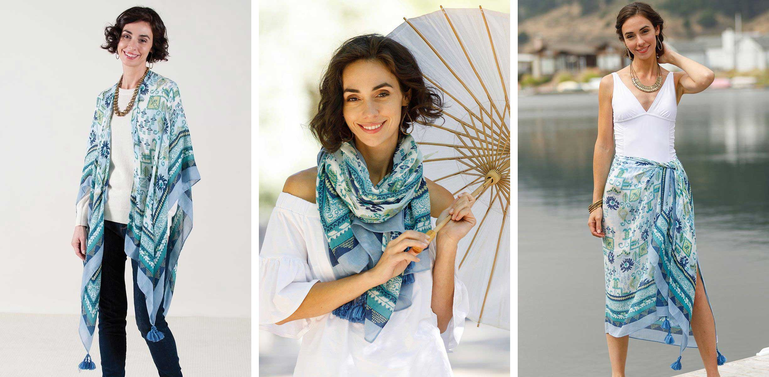 3 photos of a woman wearing the same kimono wrap over a sweater, a white summer shirt, and a white bathingsuit