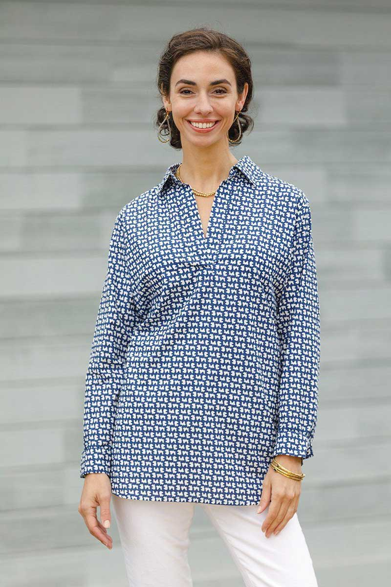 Navy Cotton Poet Shirt