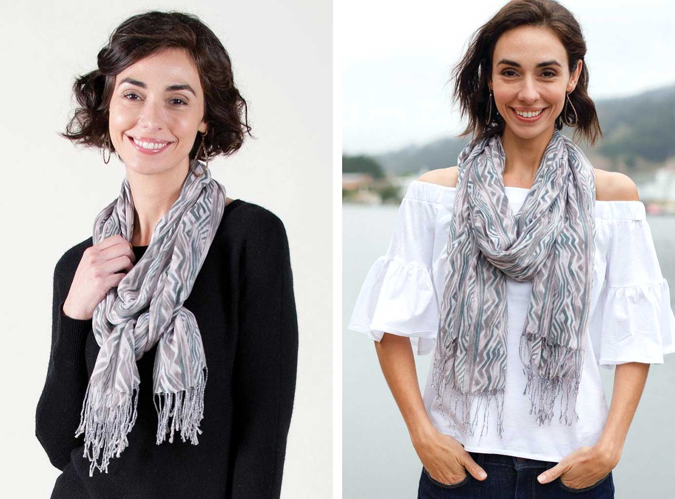 woman wearing same grey and lavender print scarf with a dark sweater on the left and a white summer shirt on the right