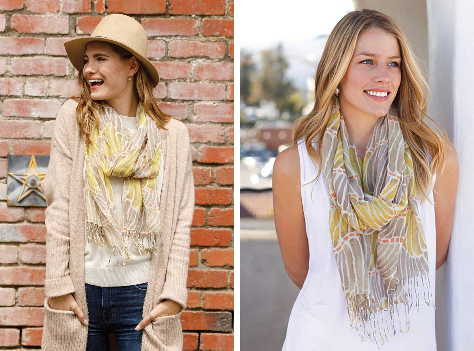 A comparison of one woman wearing a yellow printed scarf with a sweater and cardigan vs. another woman wearing the same scarf with a white dress