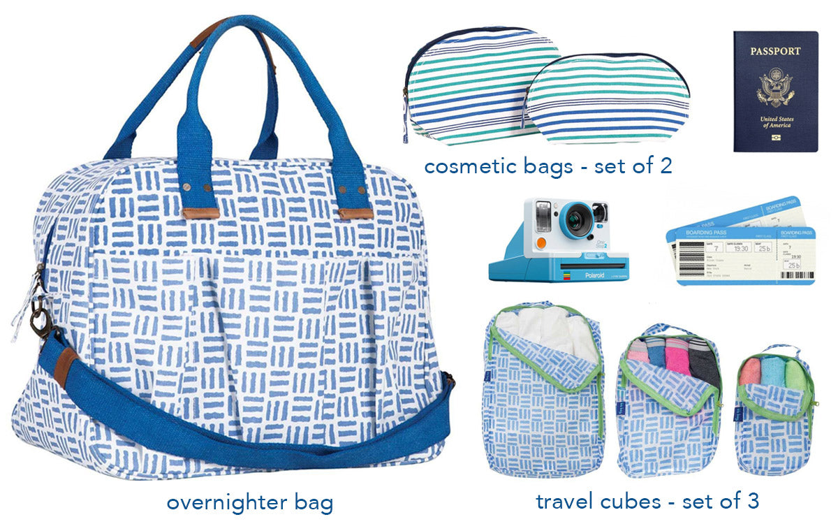 collage of ultimate travel items like an overnighter bag, cosmetic bags, and travel cubes
