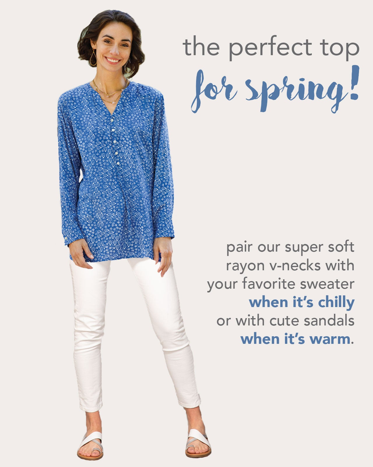 navy v-neck tunic for spring