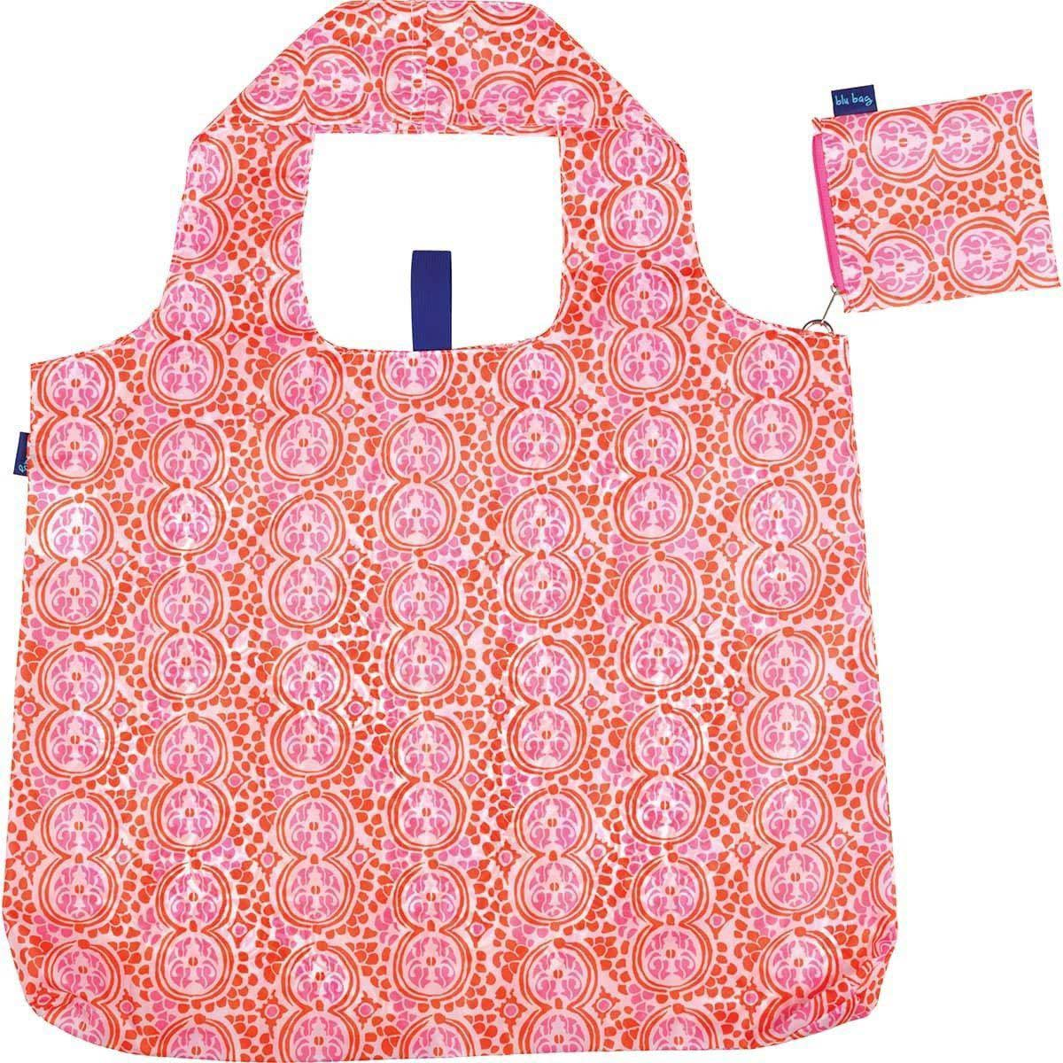 blu bag reusable shopping bag in pink and orange floral print