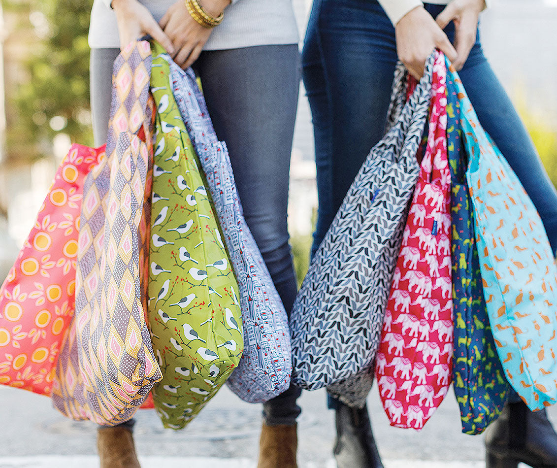 2 women carrying a colorful collection of reusable blu bag shopping bags