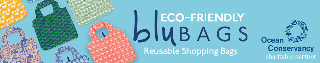 Eco-Friendly Blu Bags Banner Image with 6 Printed Reusable Bags and Ocean Conservancy Logo for Charitable Partner
