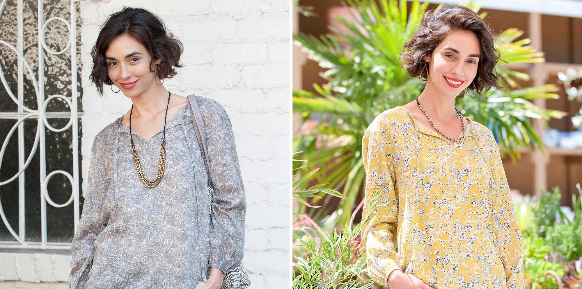 comparison image of woman wearing peasant blouse with long necklace and short necklace