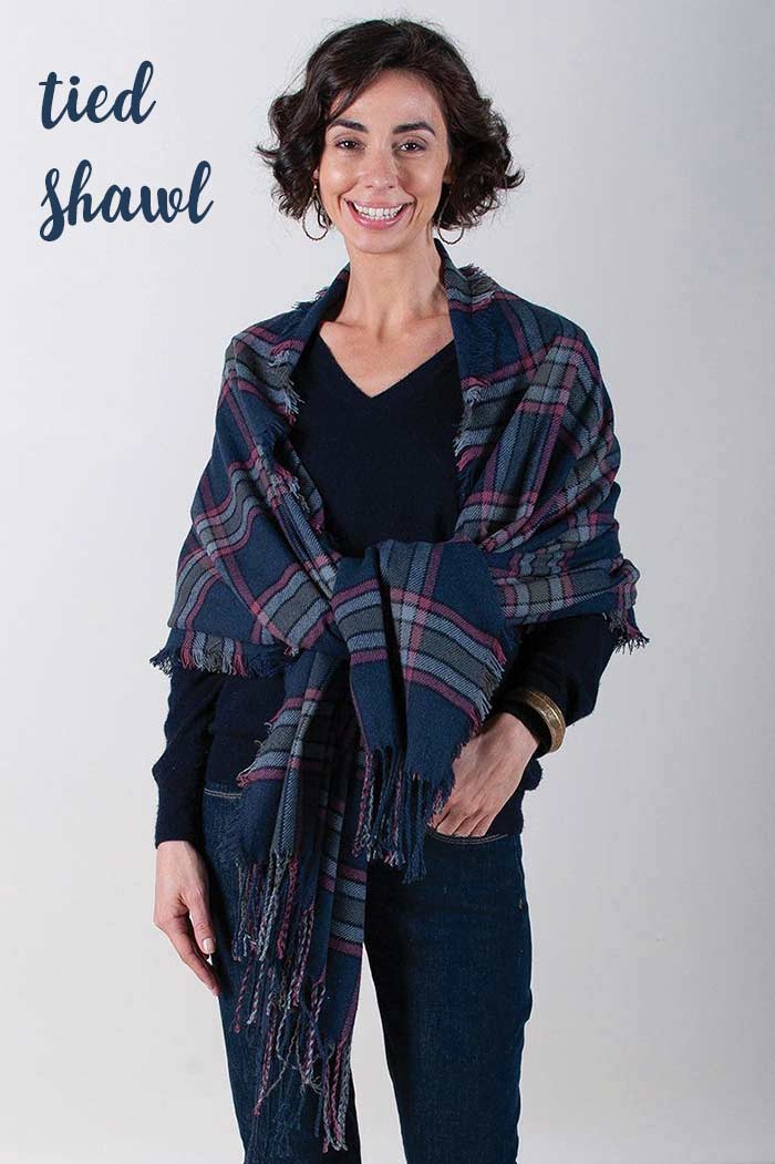 Wear a plaid scarf around your shoulders and tied in the front.