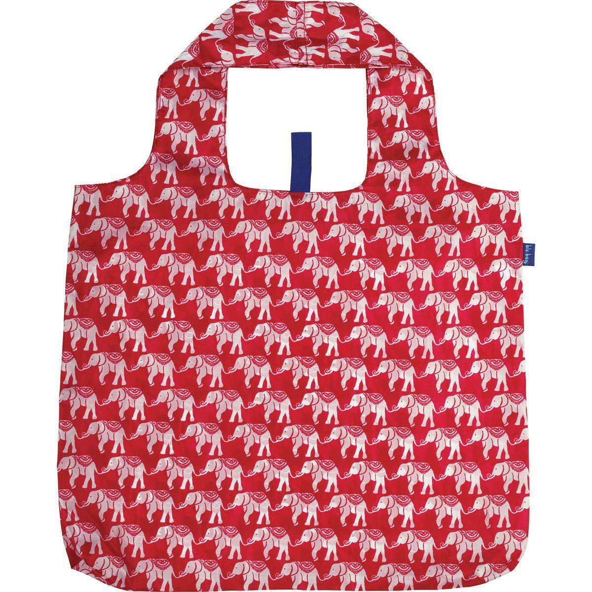 blu bag reusable shopping bag with red background and white elephant print