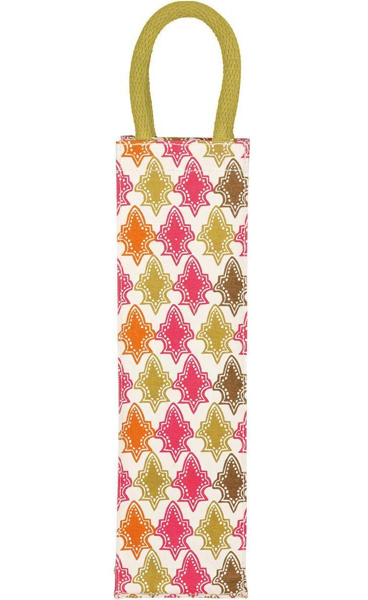 canvas gift bag for wine with pink, red, and green print inspired by morocco