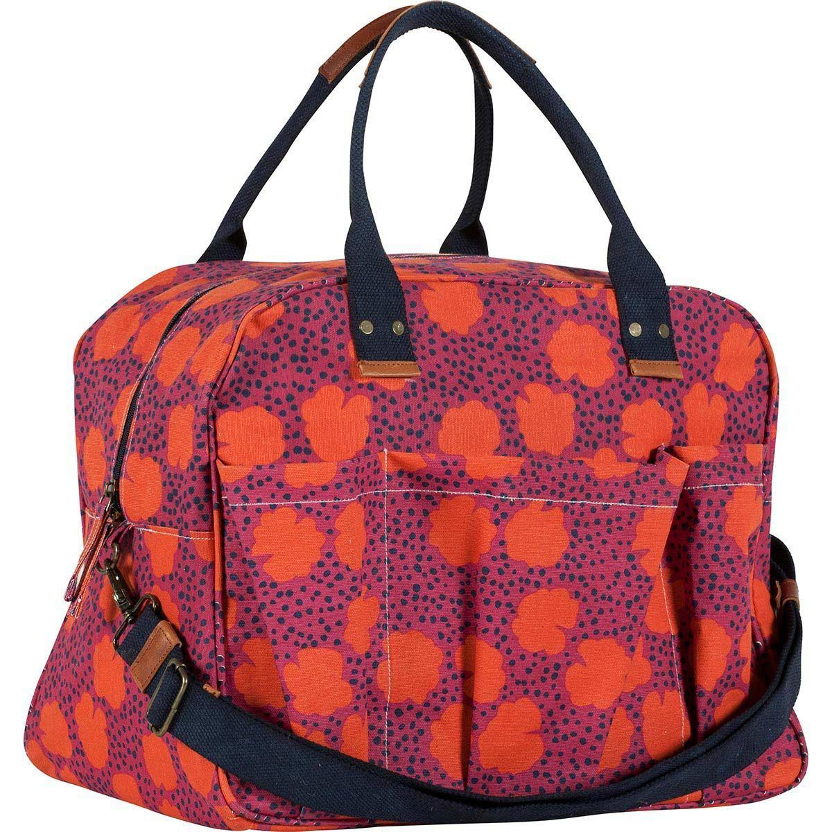 red and purple floral print overnighter tote bag