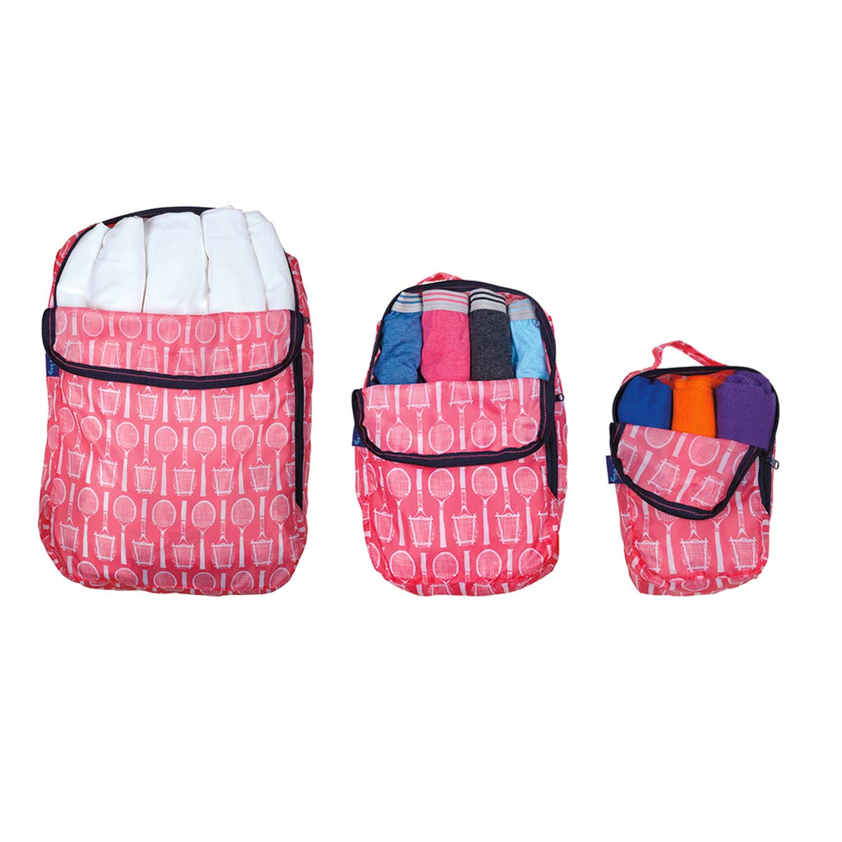 a set of 3 pink travel cubes with a tennis racket print
