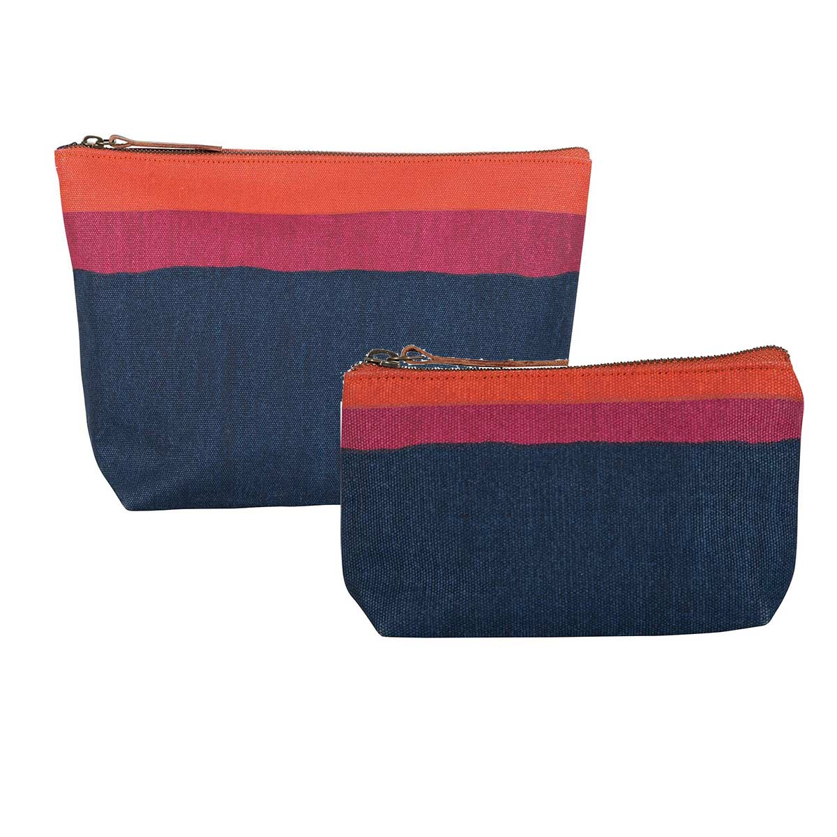 relaxed canvas pouches in red, orange, and navy blue stripe
