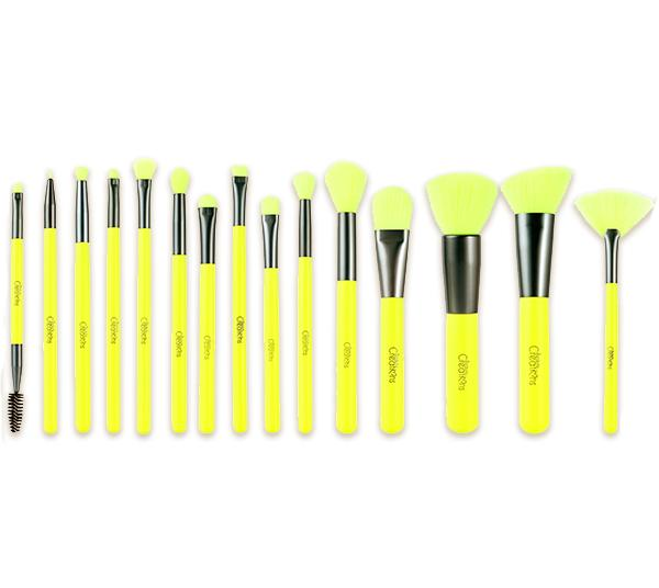 Beauty Creations 15 Piece Brush Set Neon Yellow - Wholesale Pack 4PCS (15NB-C)
