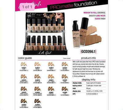 Wholesale L.A Girl Pro Matte Foundation Display 84PCS (GCD266.1)