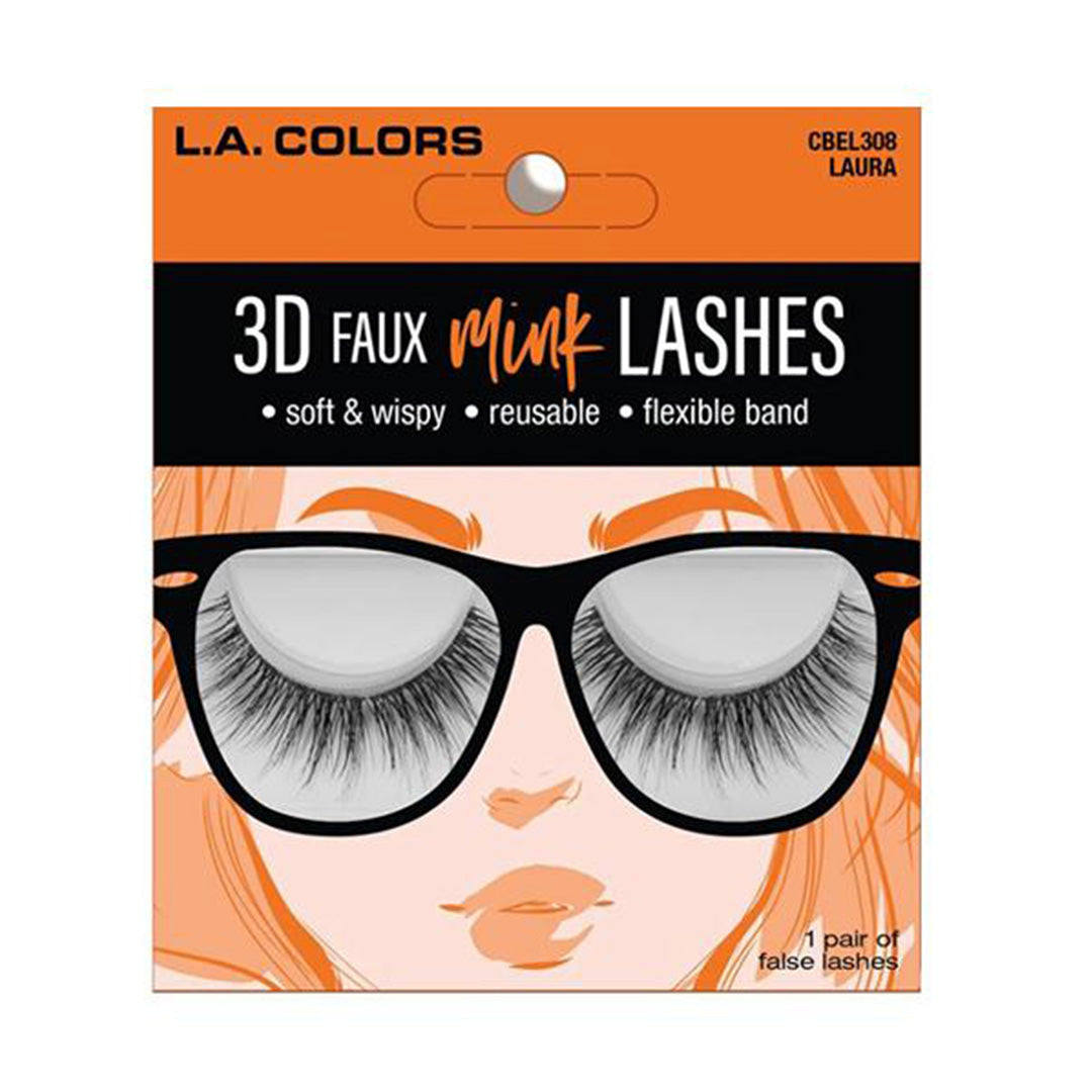 L.A. Colors Faux Mink Lashes Laura - Wholesale Pack 24PCS (CBEL308W)