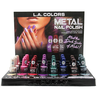 Wholesale L.A. Colors Dark Metal Nail Polish Display 24PCS (CLAC439)