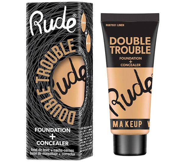Rude Cosmetics Double Trouble Foundation + Cocealer 4 Shades - Wholesale Pack 12Pcs (RC-DTFC)