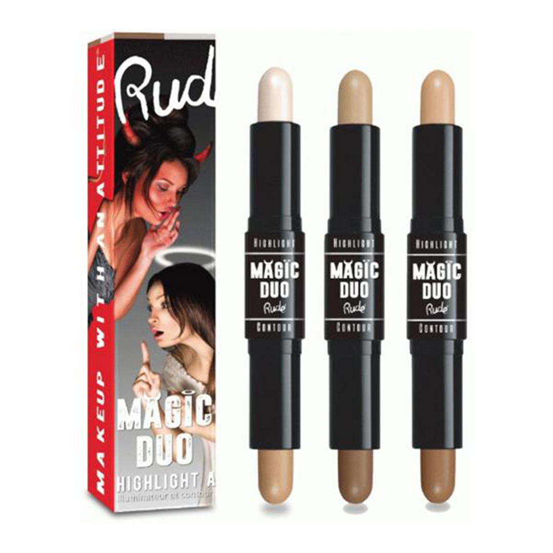 Rude Cosmetics Magic Duo Highlight & Contour 3 Shades Assorted - Wholesale Pack 24PCS (RC-MDH3)