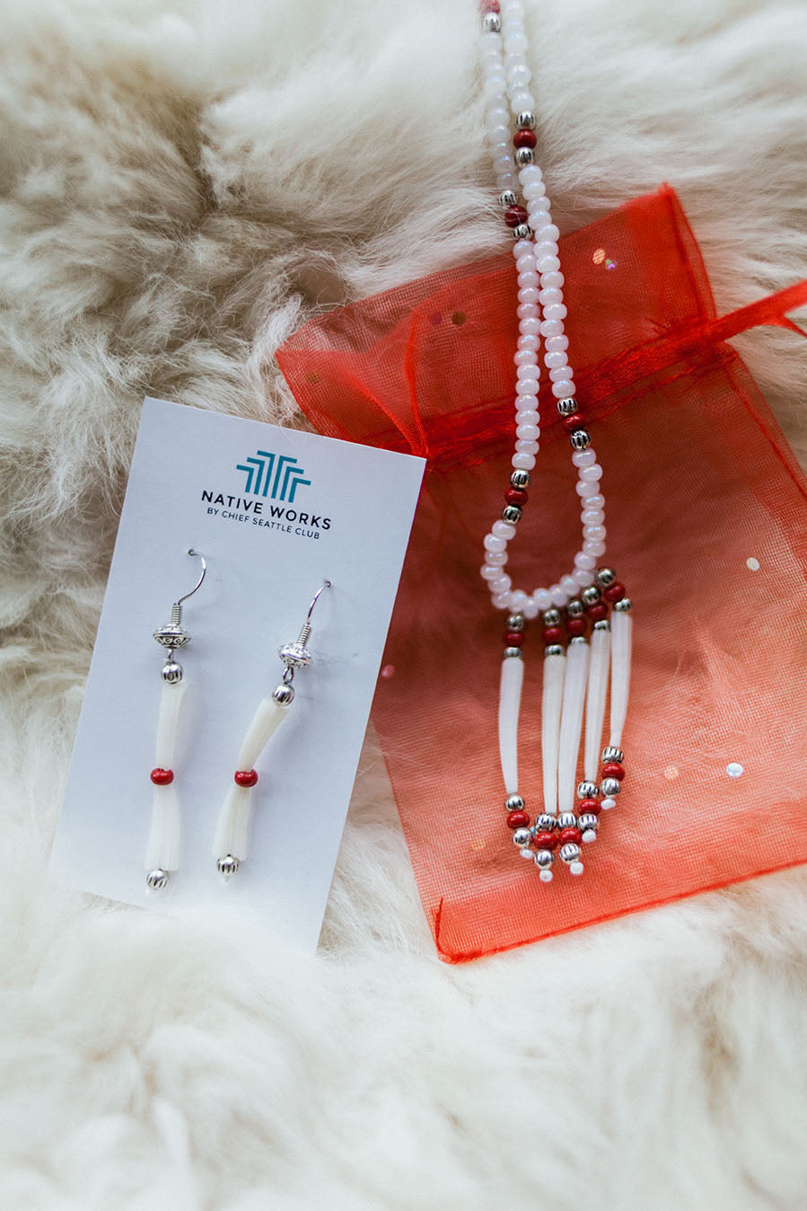 Dentalium Shell Necklace and Earring Set