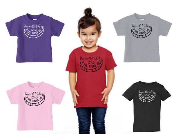 They Re All Mad Here Great Alice In Wonderland Cheshire Cat Quote Doodles Dots