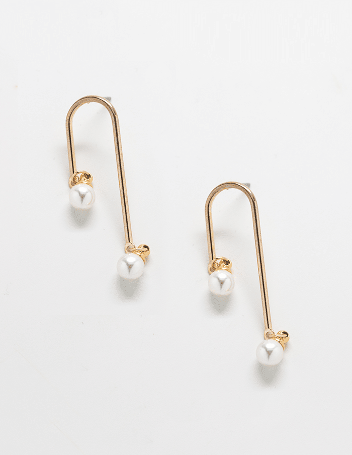 Pearl Curve Bar Earrings - Proper-Shops
