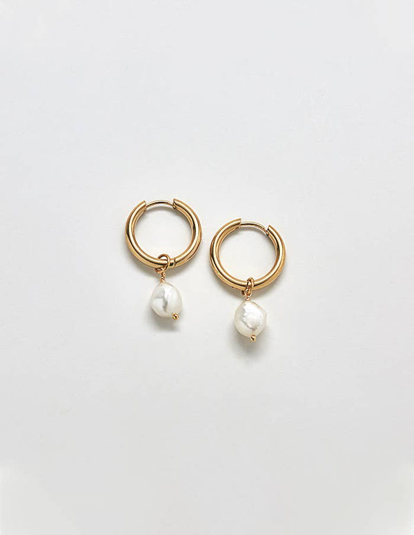 Pearl Hoop Earrings - Proper