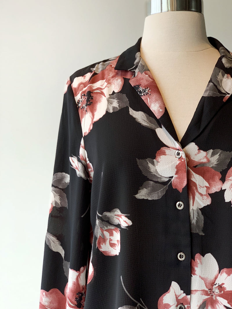 Floral Tie Sleeve Button Down