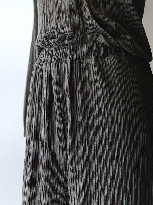 Textured Wide Leg Pants - Proper-Shops