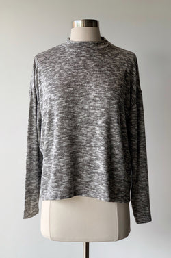 Mock Neck Marl Top - Proper-Shops