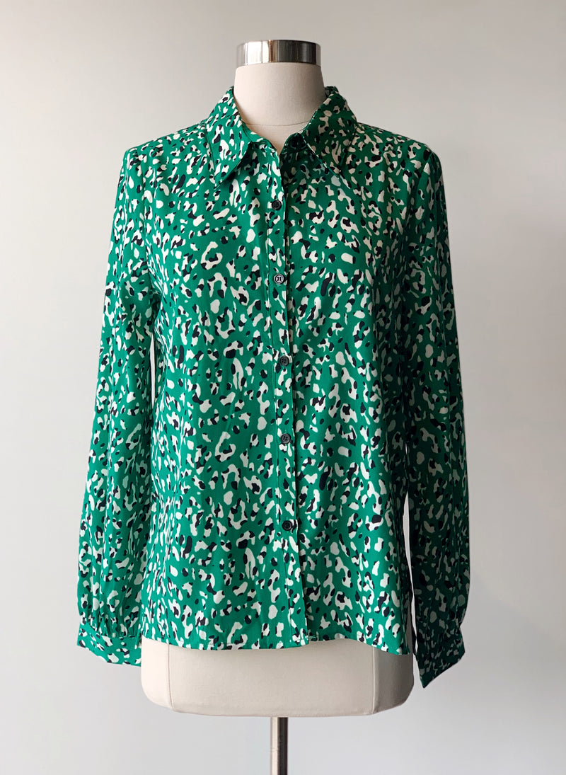 Green Leopard Blouse - Proper-Shops