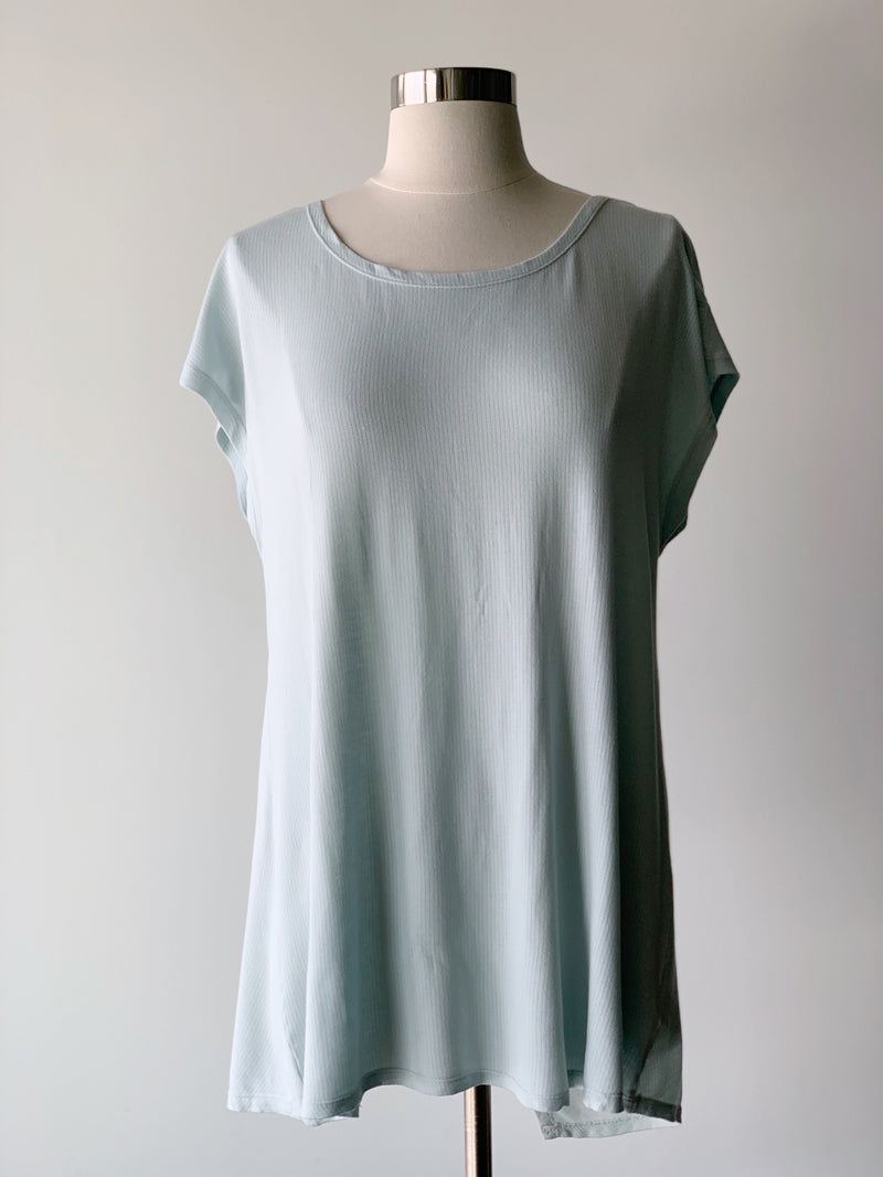 Twist Back Sky Blue Top - Proper-Shops