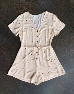 Taupe Dot Romper