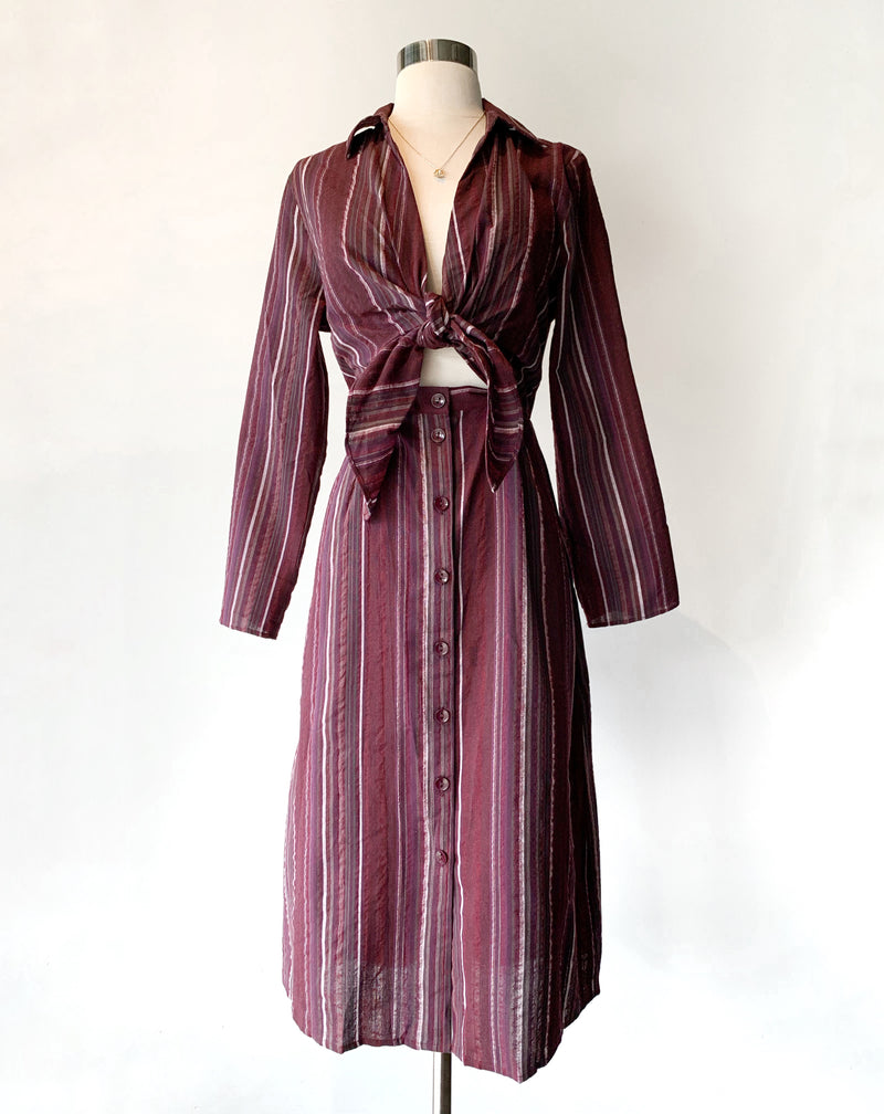 Wine Stripe Dress - Proper-Shops