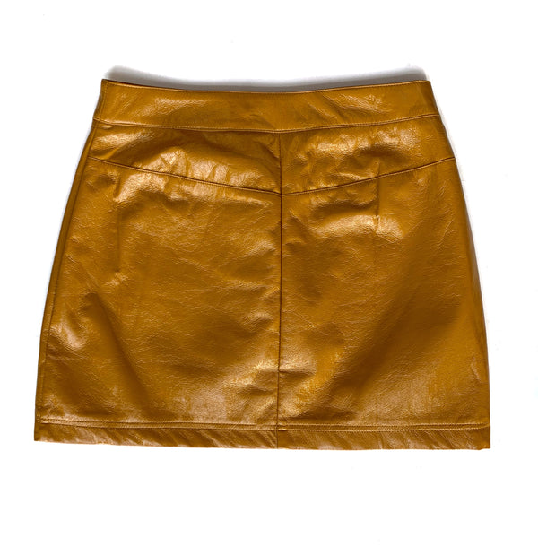 Mustard Faux Leather Skirt - Proper-Shops