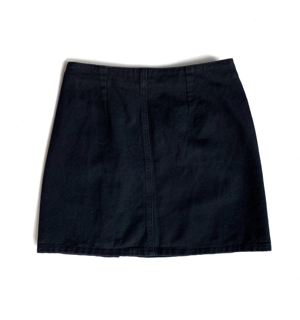 Button Black Skirt