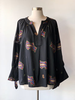 Black Paisley Top - Proper-Shops