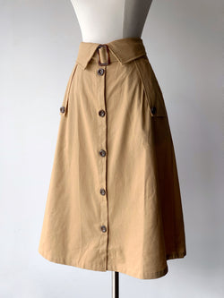 Khaki Button Midi Skirt - Proper-Shops