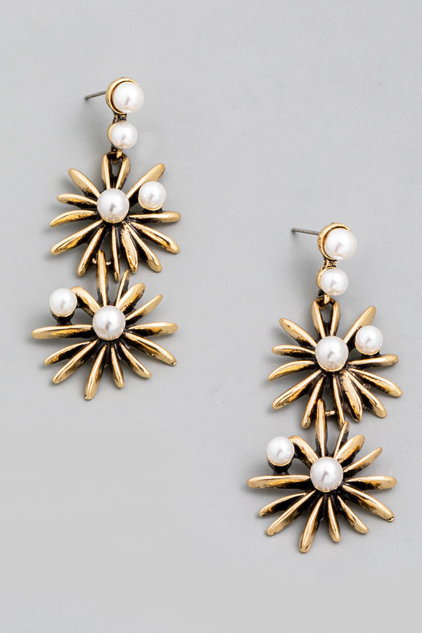 Antiqued Pearl Floral Earrings