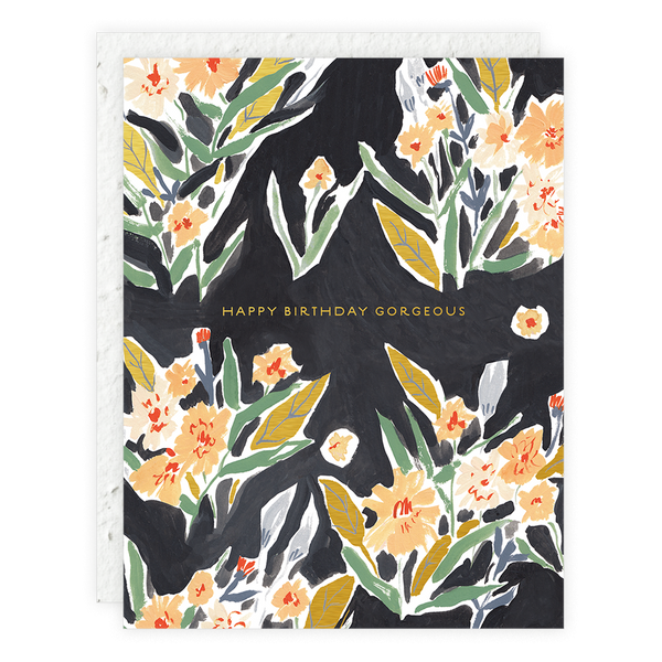Black Floral Birthday Card - Proper-Shops