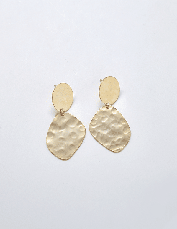 Hammered Oval Earrings - Proper-Shops
