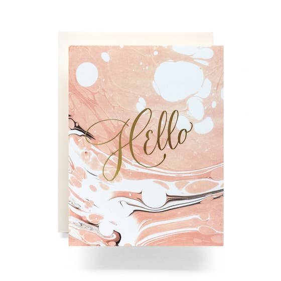 Marble Hello Card - Proper-Shops