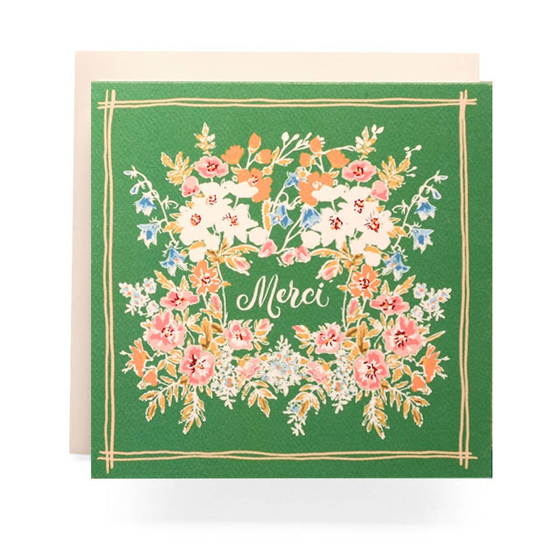 Merci Floral Square Card - Proper