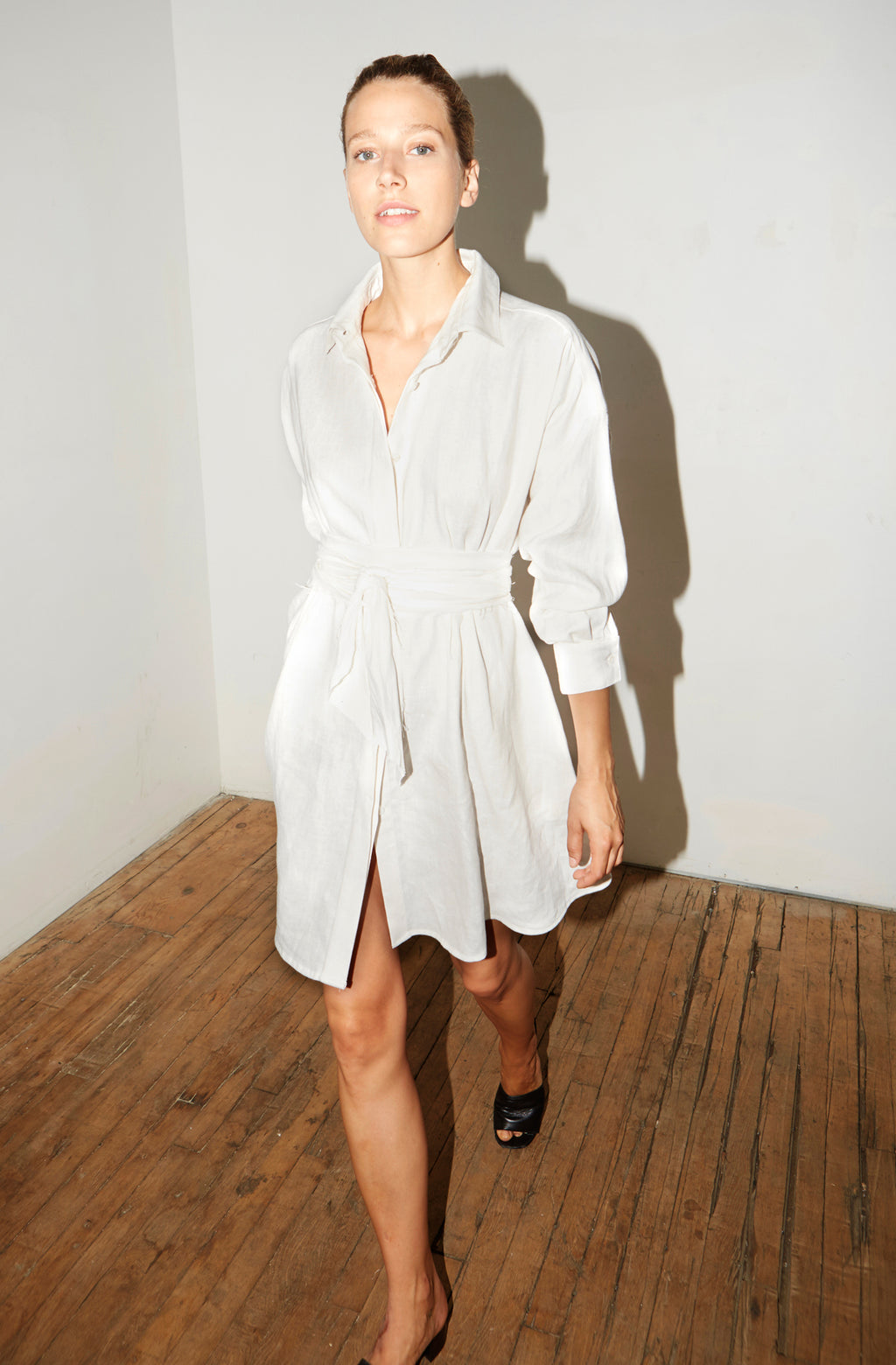 White Linen Short Shirt Dress